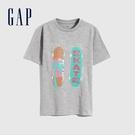 Gap男童 帥氣輕薄雙面亮片短袖T恤 689880-灰色