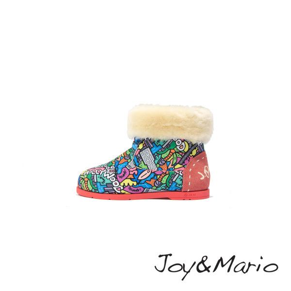 【Joy&Mario】J. Pierce設計師塗鴉款兒童短靴 - 61755C PINK 美碼1.5