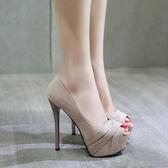 14公分超高跟鞋細跟魚嘴鞋防水臺台性感淺口單鞋女小碼細跟鞋新款 超值價