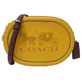 【COACH】新款大馬車LOGO小斜背相機包(黃)