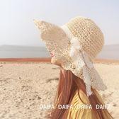 沙灘帽俏皮淑女風蕾絲蝴蝶結波兩邊草帽 沙灘帽女夏天海邊度假遮陽帽 3c公社