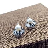 925純銀耳環-珍珠復古文藝葉子造型生日情人節禮物女飾品73ld69【時尚巴黎】