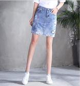 85折牛仔短裙春季2018新款網紗韓版裙子高腰夏開學季