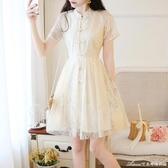 年新款法式顯瘦小個子旗袍改良版古風蕾絲洋裝仙女夏公主裙 艾美時尚衣櫥