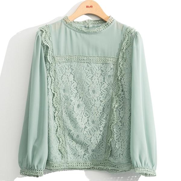 秋裝上市[H2O]氣質蕾絲拼接八分袖雪紡上衣 - 黑/白/淺綠色 #0635005