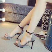 10cm細跟涼鞋千鳥格一字搭扣簡約時尚女高跟涼鞋百搭2018夏女新款