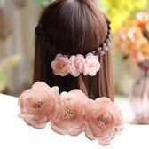 發夾 梅子發飾絹紗花朵彈簧夾發卡發夾布藝仿真花頂夾簡約頭飾L37