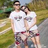 情侶裝夏三亞巴厘島海邊度假旅游女T恤印花沙灘情侶套裝『鹿角巷』
