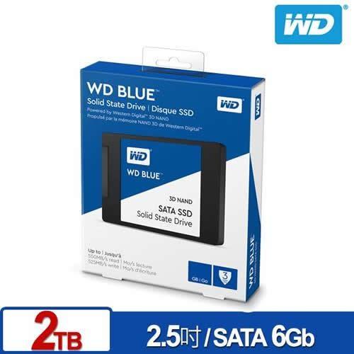 WD SSD 2TB 2.5吋 3D NAND固態硬碟(藍標)