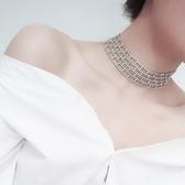 限定款鎖骨鍊 歐美新品免運方塊閃鑽迷你頸圈鏤空奢華鎖骨鍊氣質項鍊女潮人頸鍊