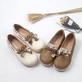 森女系春季新款軟妹平底鞋圓頭小花朵單鞋