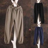 分褲女薄款鬆緊腰休閒燈籠褲束腿褲亞麻褲