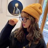 黑色針織毛線帽子女秋冬季雅痞瓜皮帽地主帽韓版潮韓國男冬天冷帽
