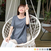 《AB2094》高含棉細肩帶造型側開衩寬鬆長版T恤/上衣 OrangeBear