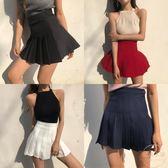 夏季新款港味復古帶安全褲高腰顯瘦百褶裙短裙純色百搭學生半身裙 【販衣小築】