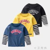 男女童長袖T恤 假兩件兒童上衣條紋潮字母港風 小艾時尚