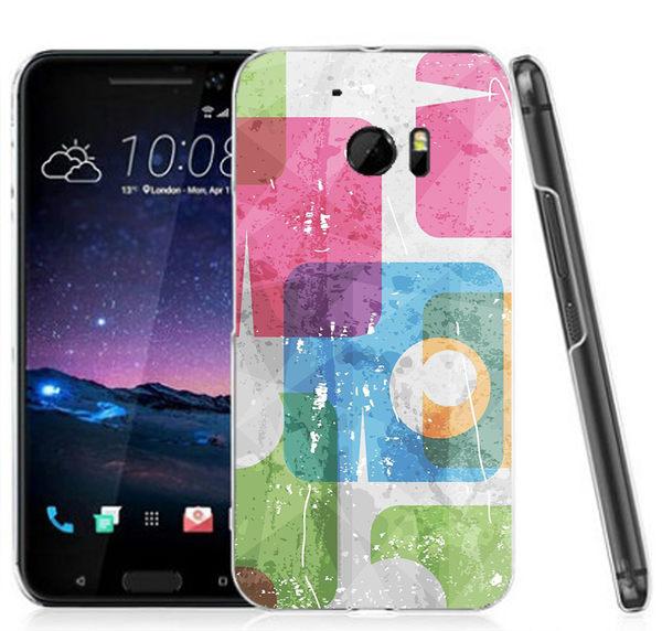 ♥ 俏魔女美人館 ♥ (彩色方塊*水晶硬殼}HTC 10 手機殼 手機套 保護套 保護殼