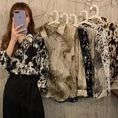 秋季2020新款复古港味衬衫女设计感小众宽松外穿长袖雪纺衬衣上衣