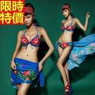 三件式女泳裝-亮麗牡丹舒適聚攏比基尼泳衣67h7【時尚巴黎】