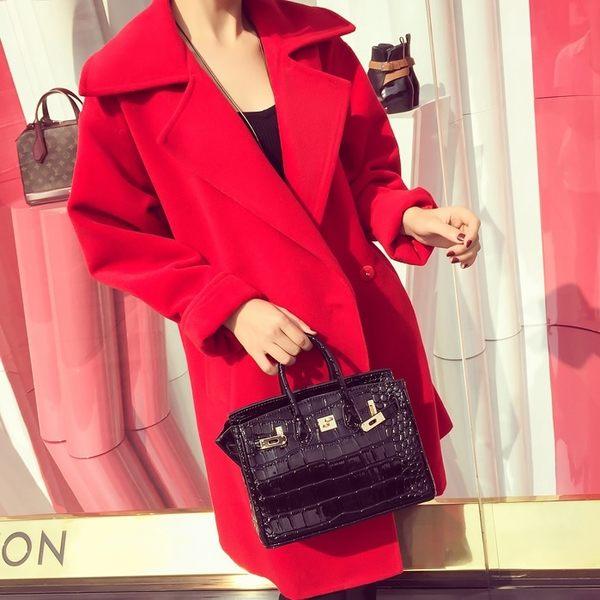 【AU22】春冬新款紅色廓形顯瘦氣質羊毛呢外套女裝大碼呢子大衣風衣潮