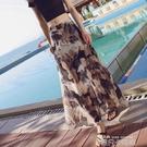 秋水仙單邊開叉雪紡抽象印花半身裙夏拉錬高腰顯高顯瘦度假沙灘裙 依凡卡時尚
