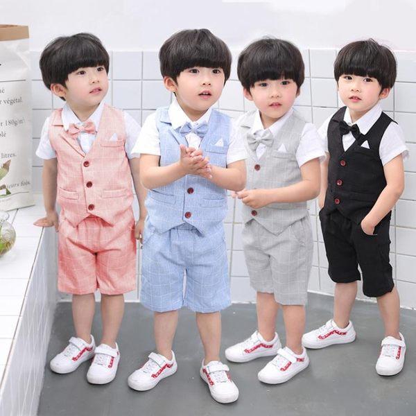 男童禮服寶寶套裝夏季周歲花童兒童西服英倫紳士小西裝六一演出服 2色可選