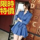 女款牛仔連身裙長袖-大方舒適個性單寧女裙子1色61v4【巴黎精品】