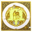 VERSACE古典猛獸圖純棉帕巾領巾(黃色)989017-22