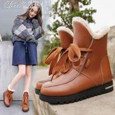 中筒靴 棉靴百搭加絨馬丁靴雪地靴平底短靴款女靴「Chic七色堇」