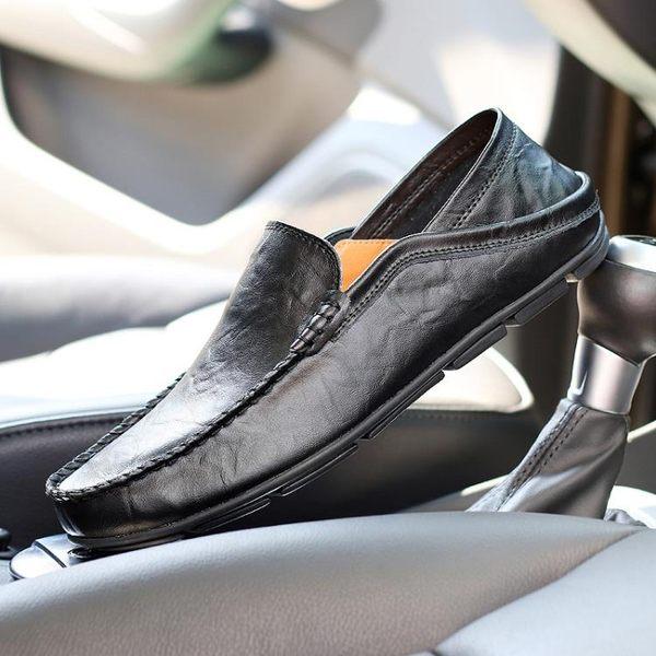 豆豆鞋 真皮男士懶人鞋大碼男鞋休閒男鞋子潮鞋皮鞋 迪澳安娜