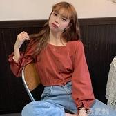 泡泡袖上衣 早秋法式小眾泡泡袖襯衫女2021新款減齡百搭韓版寬鬆顯瘦長袖上衣 薇薇