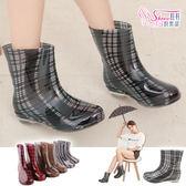 雨鞋.梅雨季熱賣 格紋果凍中筒雨靴.4色 紅格紋/棕/白黑/黑白【鞋鞋俱樂部】【105-209T1】
