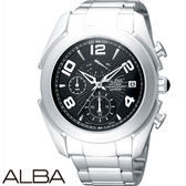 ALBA 運動碼表三眼男鋼錶x40mm黑色・藍寶石水晶鏡面・公司貨・VD50-X009D・AS6071X・精工副牌