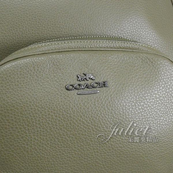 茱麗葉精品【專櫃款 全新現貨】COACH 5669 馬車LOGO全牛皮雙層後背包.橄欖綠 大
