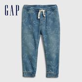 Gap男幼童 做舊水洗印花鬆緊牛仔褲 541808-中度水洗