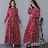 棉麻長袖洋裝裝民族風女裝寬鬆顯瘦印花復古盤扣長裙 果果精品