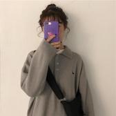 秋冬新款韓版ins潮套頭慵懶風bf寬鬆polo領毛衣針織衫女上衣 韓國時尚週