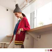 《FA2022-》學院風開襟長版針織外套 OB嚴選