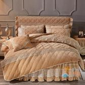 85折免運-床罩四件套公主蕾絲保暖夾棉加厚珊瑚絨水晶絨床裙四件套床罩法萊絨4件套WY