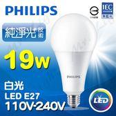 【有燈氏】PHILIPS 飛利浦 LED E27 19W 純淨光 球泡 燈泡 無藍光【PH-E2719W】