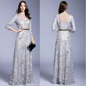 禮服  蕾絲深V領露背網紗拼接長版氣質優雅晚禮服  4-12碼 #jh538 ❤卡樂❤