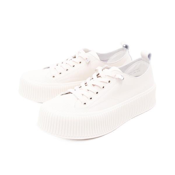 【南紡購物中心】WALKING ZONE(女) 圓頭餅乾鞋 厚底鞋 休閒鞋 女鞋 - 白(另有黑)