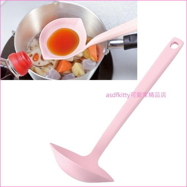 asdfkitty可愛家☆日本製 下村工業 粉紅色尼龍可計量料理杓/大湯匙-不傷到不沾鍋.琺瑯鑄鐵鍋