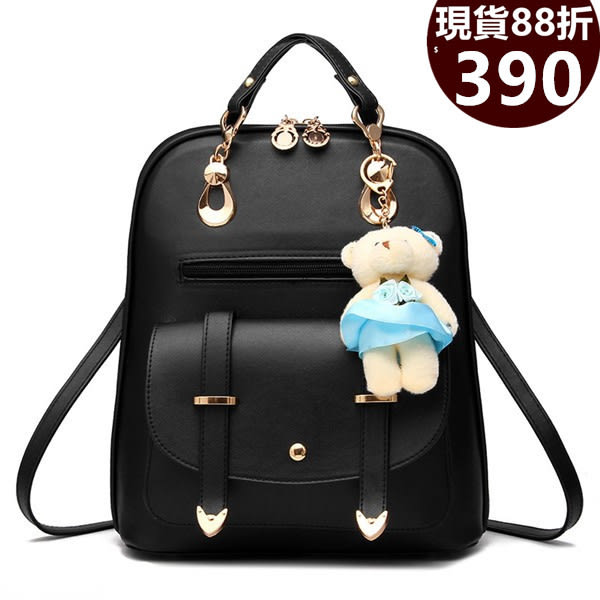 後背包【現貨販售】優質百搭5A小熊掛飾後背包 共7色-寶來小舖-bb168