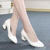 春軟面羊皮粗跟單鞋中跟舒適大碼工作尖頭女皮鞋41碼『小宅妮時尚』