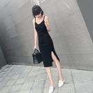 吊帶連衣裙長版新品女裝春夏季氣質性感春秋打底小黑裙