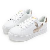 PLAYBOY 率性浪潮 微尖楦頭仿皮休閒鞋-白金(Y6210)