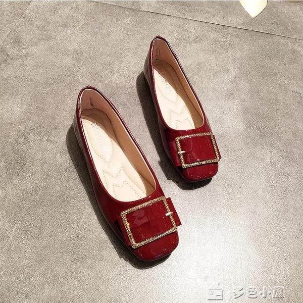 夏平底方頭單鞋女淺口方扣平跟豆豆鞋軟底舒適上班鞋酒紅色 多色小屋