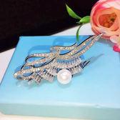 精緻珍珠鑲鋯石水晶胸針 時尚別針胸花 (0522)