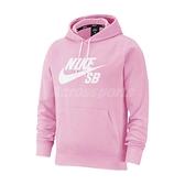 Nike 長袖T恤 SB Icon Pullover Skate Hoodie 粉 白 男款 滑板 帽T 運動休閒 【ACS】 AJ9734-629